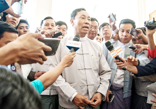 Thura U Shwe Mann speaks to reporters after the first session of the new parliment in Nay Pyi Taw on February 1. Photo: Aung Khant / The Myanmar Times