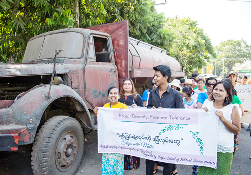Activists leading an interfaith walk in Yangon last weekend are facing criminal charges.(Aung Myin Ye Zaw / The Myanmar Times)