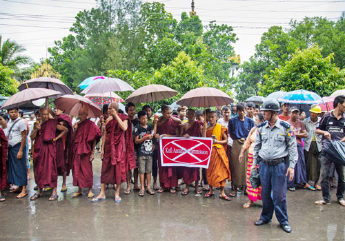 Buddhist nationalists stage a protest against the Rakhine State Advisory Commission in Sittwe on September 6. Photo: Aung Myin Ye Zaw / The Myanmar Times