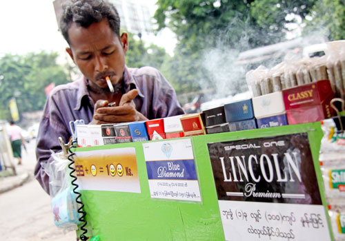 According to a study by a regional tobacco control alliance, Myanmar's smoking policies are badly out of date. Photo: Staff