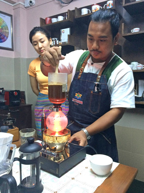 Sithar's resident barista San Lin Aung demonstrates the art of cold brew coffee.