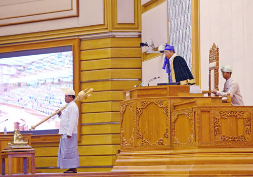 Speaker Mahn Win Khaing Than said yesterday that the dispute over an urgent proposal about Rakhine State was misrepresented by the MP. Photo: Aung Htay Hlaing / The Myanmar Times