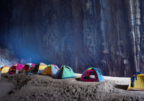 Tents at a campsite in Hang Son Doong, the largest cave in the world, in Quang Binh province, Vietnam.