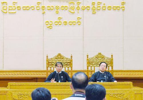 Speaker U Win Myint (left) speaks to the press yesterday. Photo: Pyae Thet Phyo / The Myanmar Times