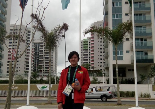Ei Thet at the Olympic Village in Rio.