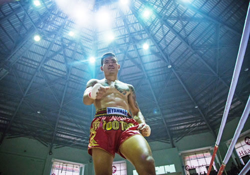 Too Too, seen here at Thein Phyu Stadium in Yangon on October 9, will face another challenge to his unbeaten streak from Muay Thai star Chanajon Pk on January 6. Photo: Naing Lin Soe / The Myanmar Times