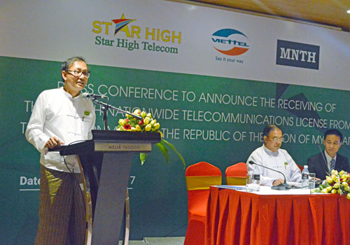 U Zaw Min Oo speaks at the Mytel press conference. Photo: Aung Kyaw Nyunt / The Myanmar Times