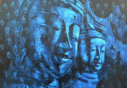 Buddha forms a major motif in his paintings.