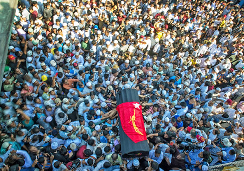 Thousands of mourners attend U Ko Ni's funeral at Yay Way Cemetery on January 30. Photo: Kaung Htet / The Myanmar Times