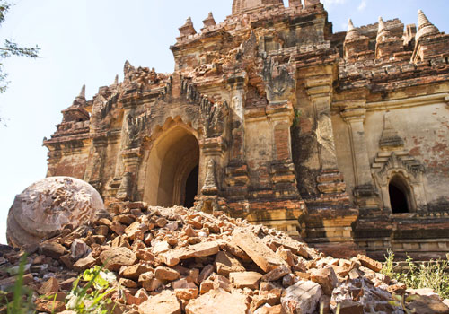 The damaged ancient Myauk Guni Temple in Bagan is pictured after the earthquake on August 25, 2016. Photo - AFP