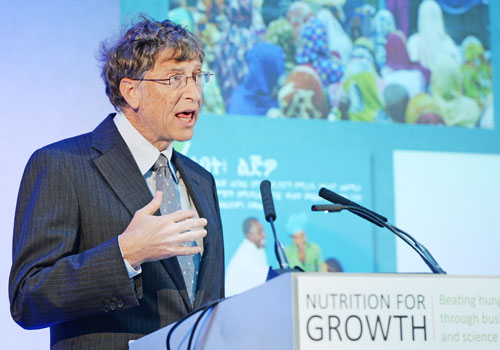 Bill Gates, co-chair of the Bill and Melinda Gates Foundation delivers a speech at the Nutrition For Growth Global Hunger Summit in London, June 8, 2013. Photo - EPA
