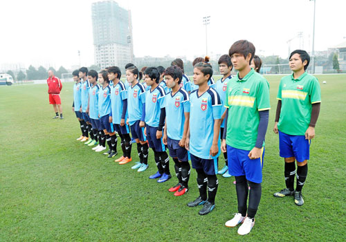 Asian Cup qualification contender Myanmar national women team during training. Photo - MFF