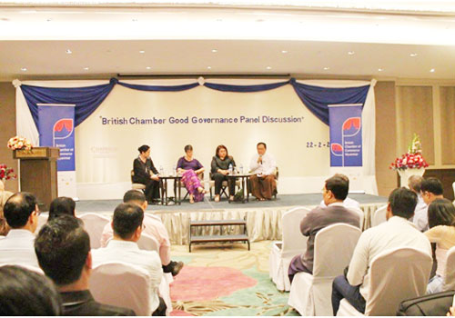 A panel discussion on corporate governance and anti-corruption with panellists from Standard Chartered Bank and Myanmar Centre for Responsible Business. Photo - Supplied