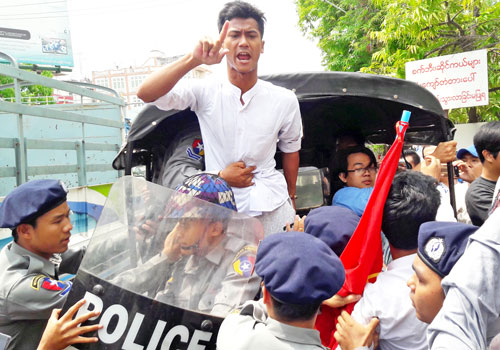 The student protesters claim that the school's administration was restricting their handphone use for five days a week. Kyaw Ko Ko / The Myanmar Times