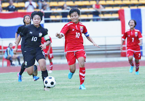 Myanmar (red dress) and Thailand's girls under-15 sides in action earlier this week in Vientiane, Laos. Photo - MFF
