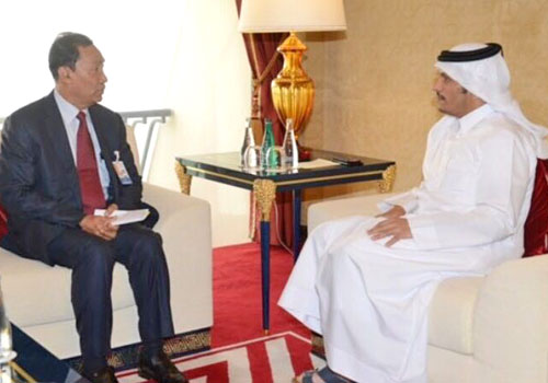 Qatari Minister of Foreign Affairs Sheikh Mohammed bin Abdulrahman Al-Thani meets with Chairman of Parliament's Legal Affairs and Special Cases Assessment Commission Thura U Shwe Mann. Photo - Supplied