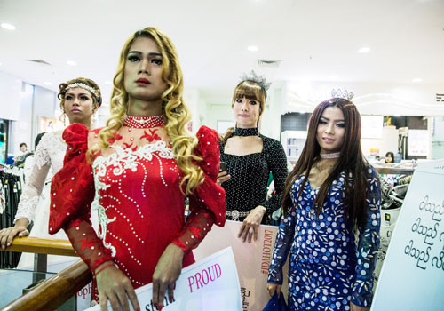 Transgender models take the stage at the International Day against Homophobia, Biphobia and Transphobia in Yangon's Hledan Centre on May 17. Zarni Phyo / The Myanmar Times