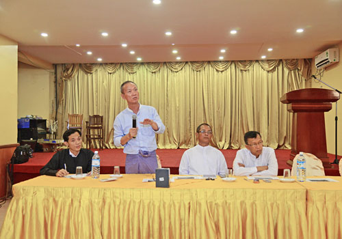 U Htay Aung speaks at People Parks rental Press Conference at M3 Restaurant on May 29. Aung Htay Hlaing / The Myanmar Times