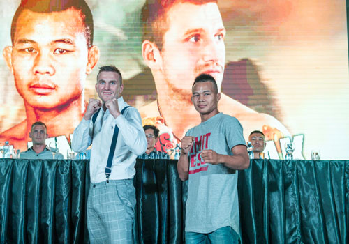 Artur Saladiak of Poland takes on Myanmar's Soe Lin Oo (right) in the main event tomorrow. Nyan Zay Htet/ The Myanmar Times