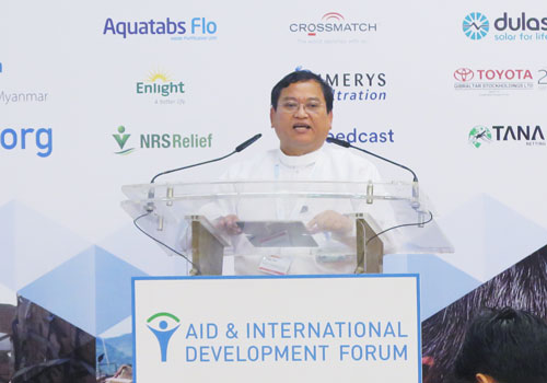 U Tun Tun Naing, permanent secretary of the Ministry of Planning and Finance, is speaking at the Aid & Development Asia Summit. Su Phyo Win / The Myanmar Times