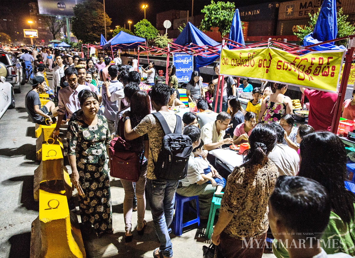 Street lights at a local night market. Nyan Zay Htet/The Myanmar Times