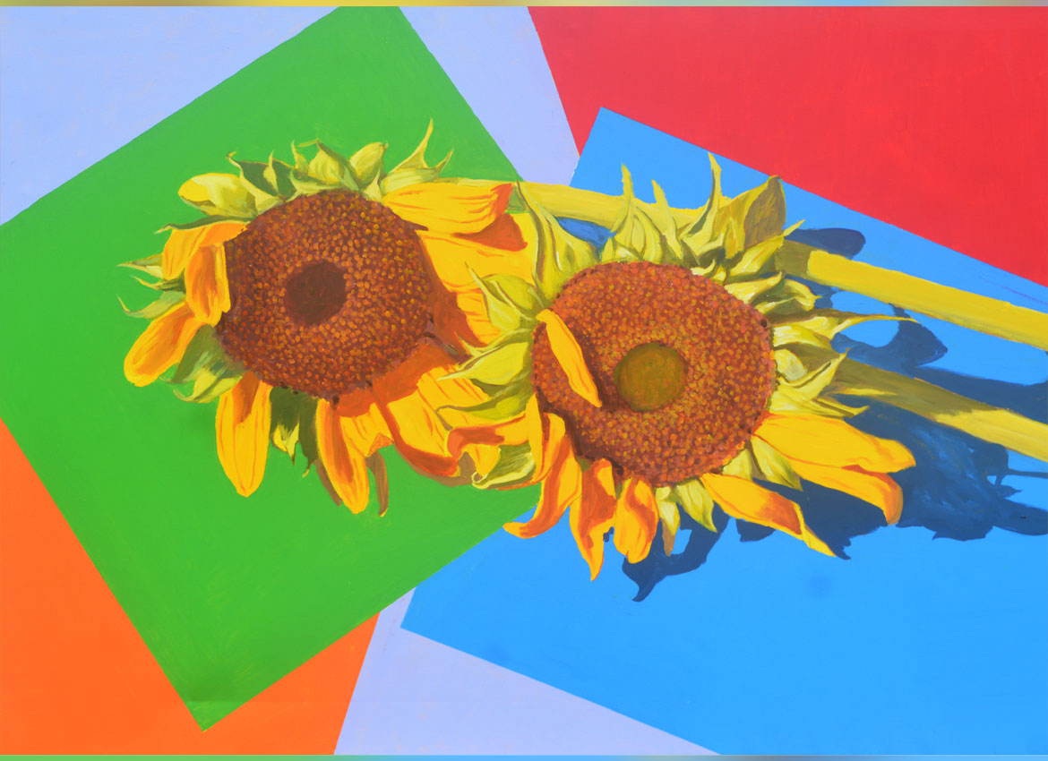 A sunflower painting by Win Pe Myint.