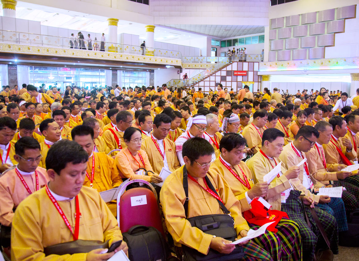 Members of the ruling National League for Democracy attend its second nationwide congress. Nyan Zay Htet/The Myanmar Times