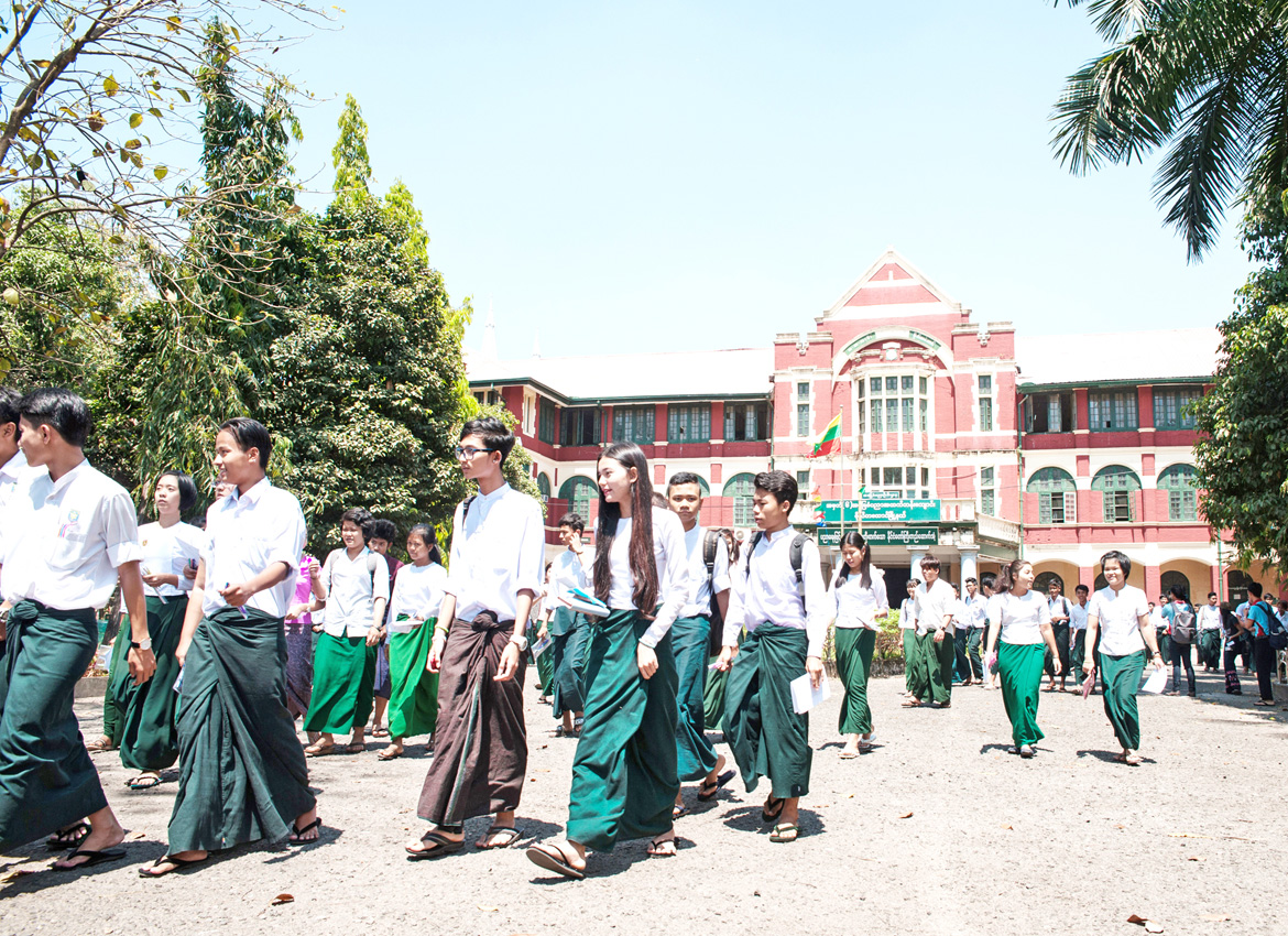 Students after a matriculation exam at B.E.H.S 6 Botataung, Anawrahta Road, Yangon, on March 8. Aung Khant/The Myanmar Times