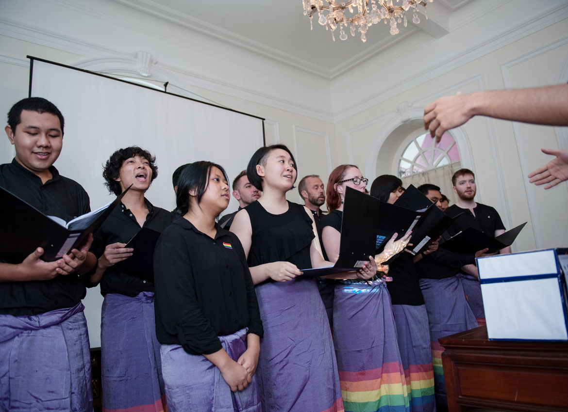 The &PROUD LGBT Choir sing during the reception for the royal wedding at the British Ambassador's residence in Yangon. Aung Khant/The Myanmar Times