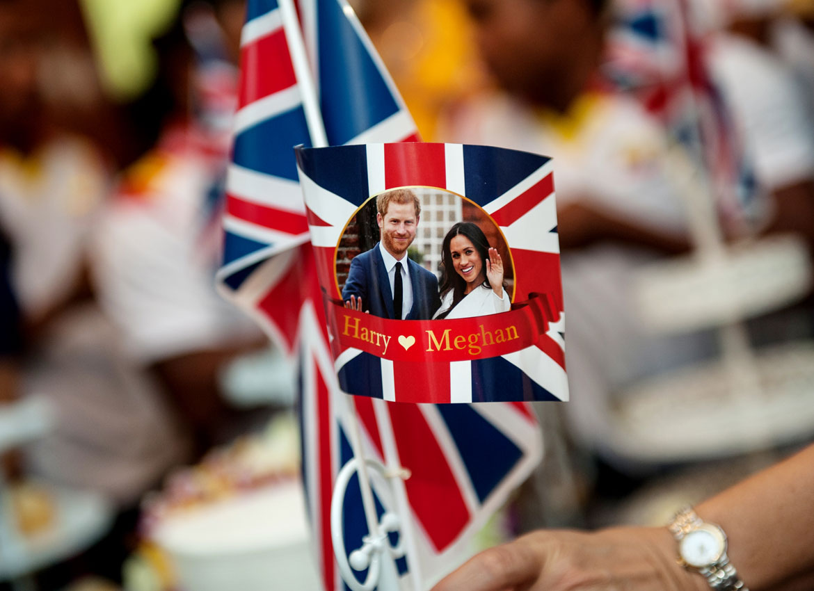 Commemorative flags are seen during the reception for the royal wedding at the British Ambassador's residence in Yangon. Aung Khant/The Myanmar Times