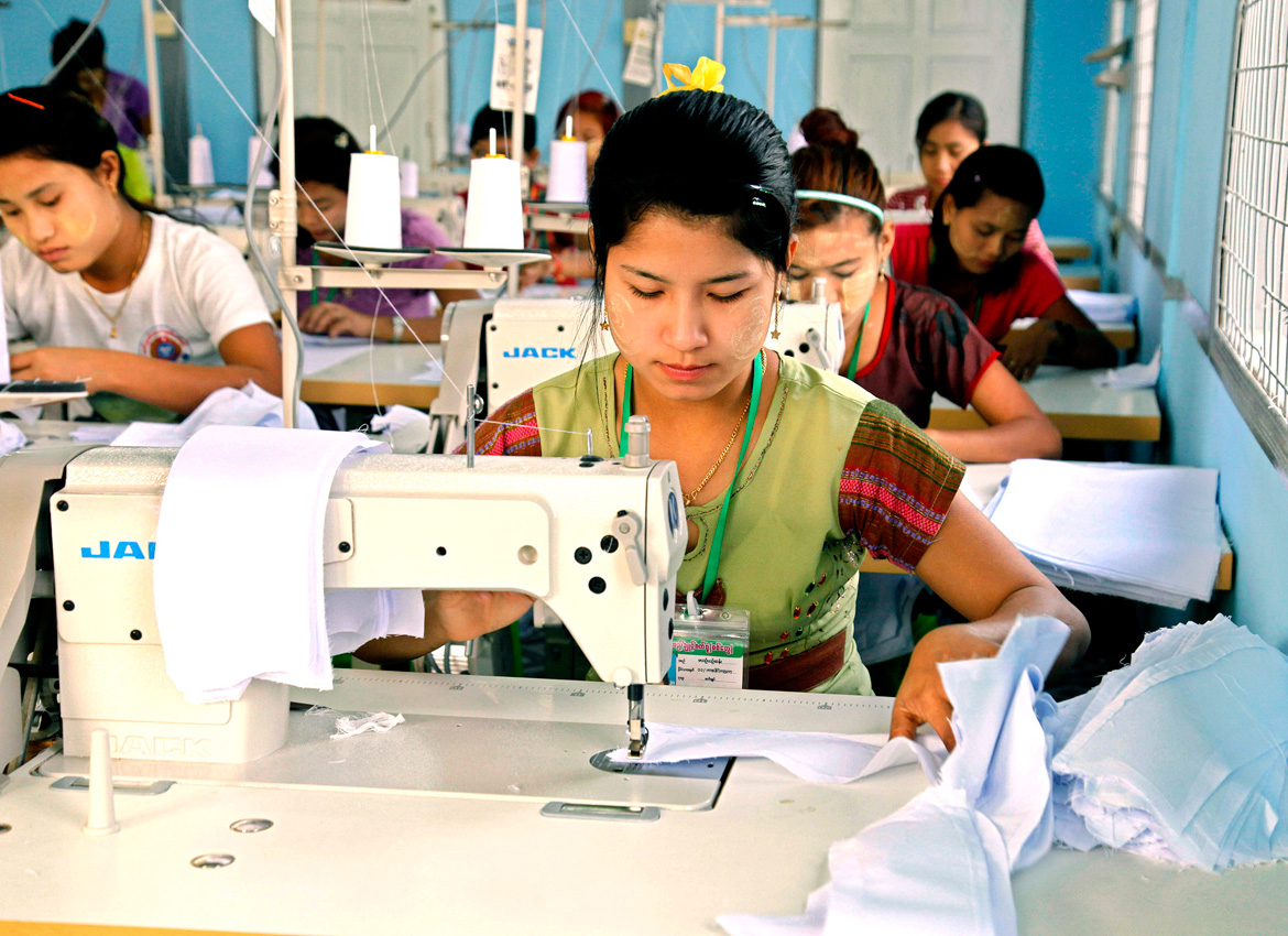 A garment factory in Sittwe, Rakhine. South Korean manufacturing companies are looking to set up garment factories in Myanmar. Photo - EPA