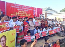 Thousands gather in Monywa town to show support for the State Counsellor. Photo - Supplied