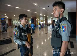 Heightened security seen at Yangon International Airport on Friday after the US Embassy warned of potential attacks in Yangon, Mandalay and Nay Pyi Taw. Aung Htay Hlaing/The Myanmar Times