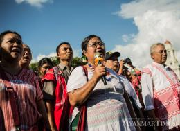 Daw Naw Ohn Hla, who has been in prison for 15 days due to demonstration of Karen Martyrs's day in September, was released from prison Tuesday. Zarni Phyo/The Myanmar Times