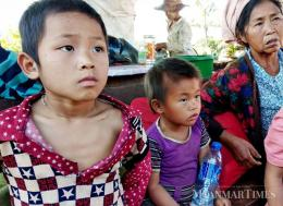 Refugees in Namtu township and Hsipaw township. Myat Moe Thu/The Myanmar Times