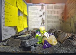 Dice, table and storylines set up for the game, Yangon, 2018.Nyo Me/The Myanmar Times