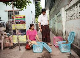 Ko Shwe Toe and Ma Hnin Wint Yi send back female cats to a monastery in Ahlone township after an operation, February 10, 2018. Aung Khant/The Myanmar Times
