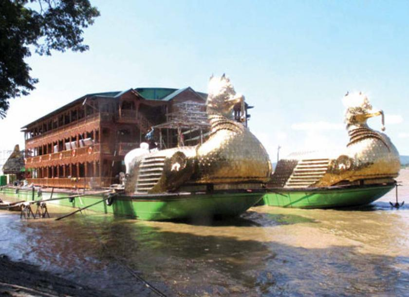 Floating Hotel Part - 26: The 39-room Karaweik Hotel Is Berthed Near Mayanchan Jetty On Strand Road  In Mandalay