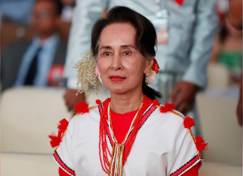State Counsellor Daw Aung San Suu Kyi attends the Myanmar Ethnics Culture Festival 2020 in Yangon, in February. Photo: EPA