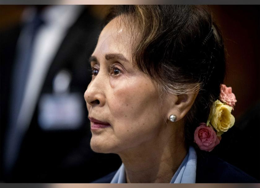 Daw Aung San Suu Kyi during the second day before the International Court of Justice in, The Hague, The Netherlands, on December 11. Photo: EPA