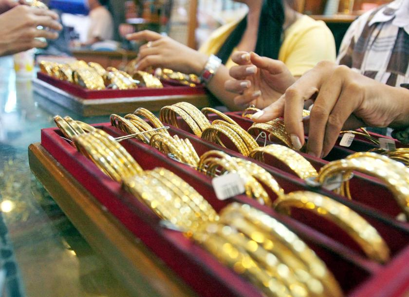 A jewellery shop at Chinatown in downtown Yangon offers a selection of gold products.  The Myanmar Times