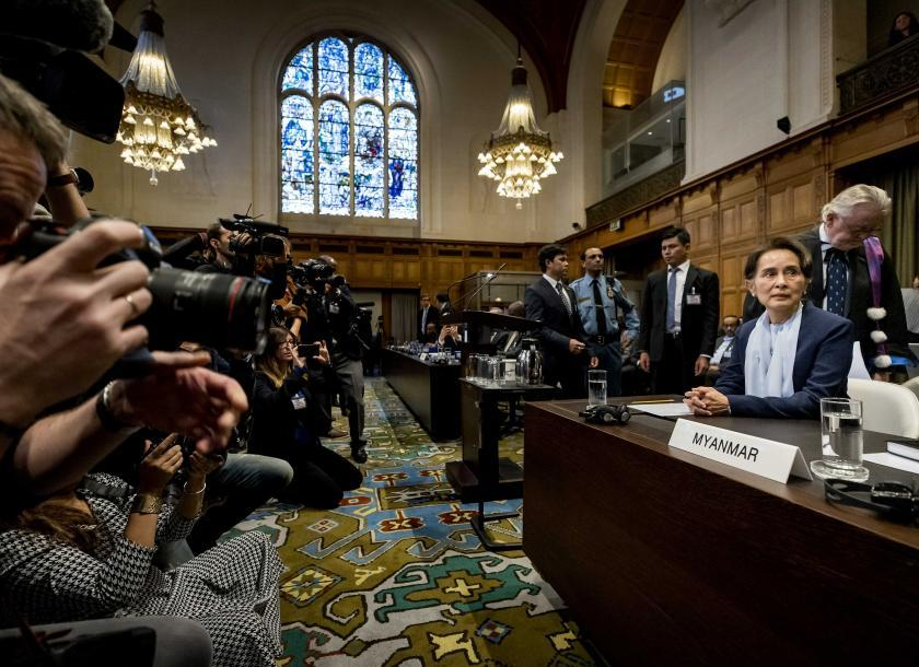 State Counsellor Daw Aung San Suu Kyi appears before the International Court of Justice (ICJ) in the Peace Palace in The Hague of The Netherlands on December 11, 2019. Photo: EPA-EFE