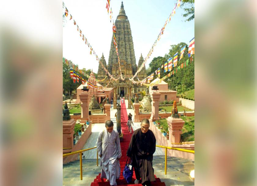 Buddhist devotees visit Bodh Gaya, India. An estimated 35,000 travellers from Myanmar visit the site every year. Photo - EPA