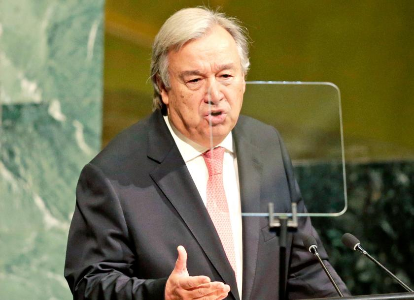 United Nations Secretary General Antonio Guterres speaks during the United Nations General Assembly at UN headquarters on September 19