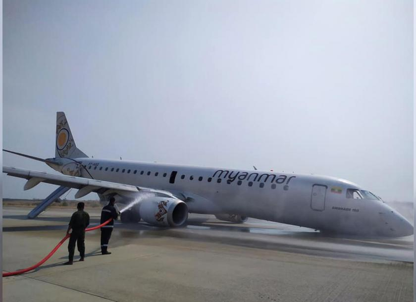 Myanmar plane lands without front wheel