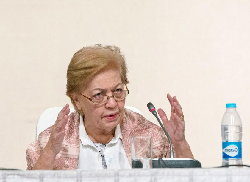 Rosario Manalo, chairperson of Myanmar's Independent Commission of Enquiry for Rakhine, talks during a press briefing in Nay Pyi Taw last August. Photo - EPA