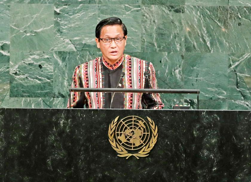 Vice President Henry Van Thio addresses the United Nations General Assembly Wednesday September 20
