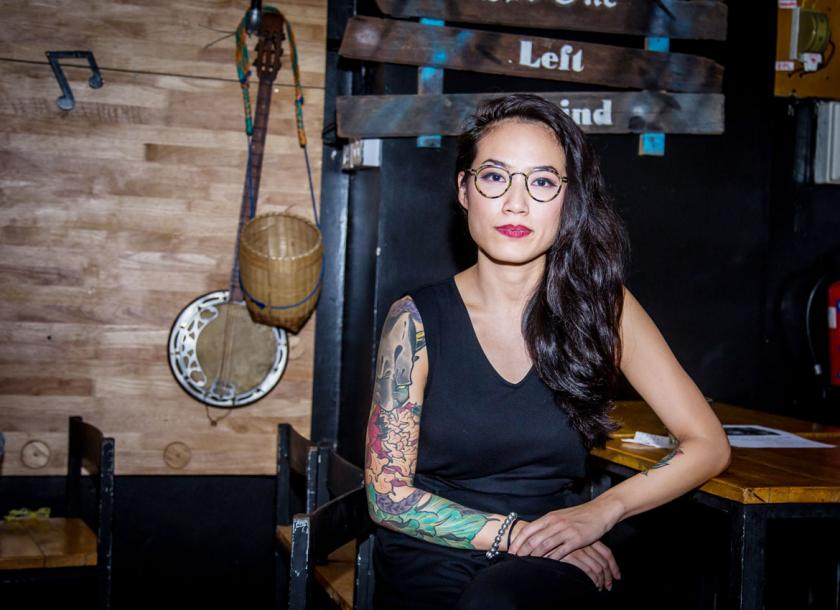 48d3460419b23 Portrait of Singapore Tattoo Artist at The Beat Bar on March 31, 2018.  Aungmyin