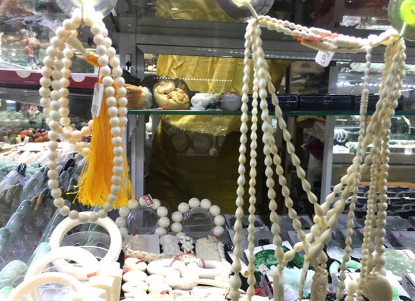 Jewellery made of elephant bones and ivory at Bogyoke Market in Yangon. Photo - Supplied