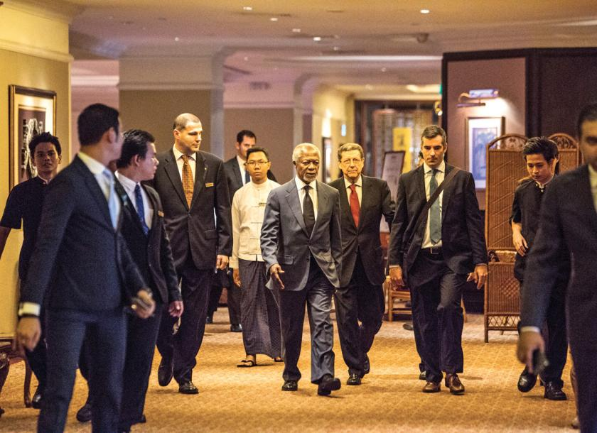 Former UN secretary-general Kofi Annan arrives to present the final report on Rakhine at Sule Shangri La Hotel in Yangon on August 24. Zarni Phyo  The Myanmar Times